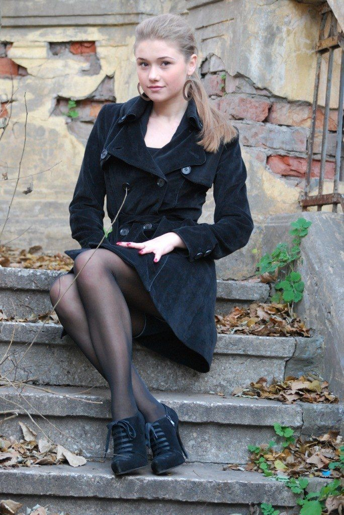 Teenager in nylons