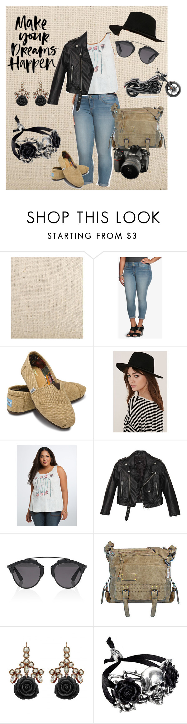 """When I'm Happiest"" by pj-cox on Polyvore featuring Torrid, TOMS, Forever 21, Nasty Gal, Christian Dior, Sherpani, Mawi, Lab and plus size clothing"