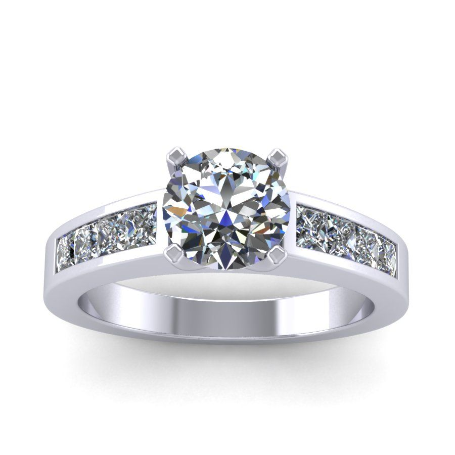Princess diamonds and round moissanite engagement ring in kt white