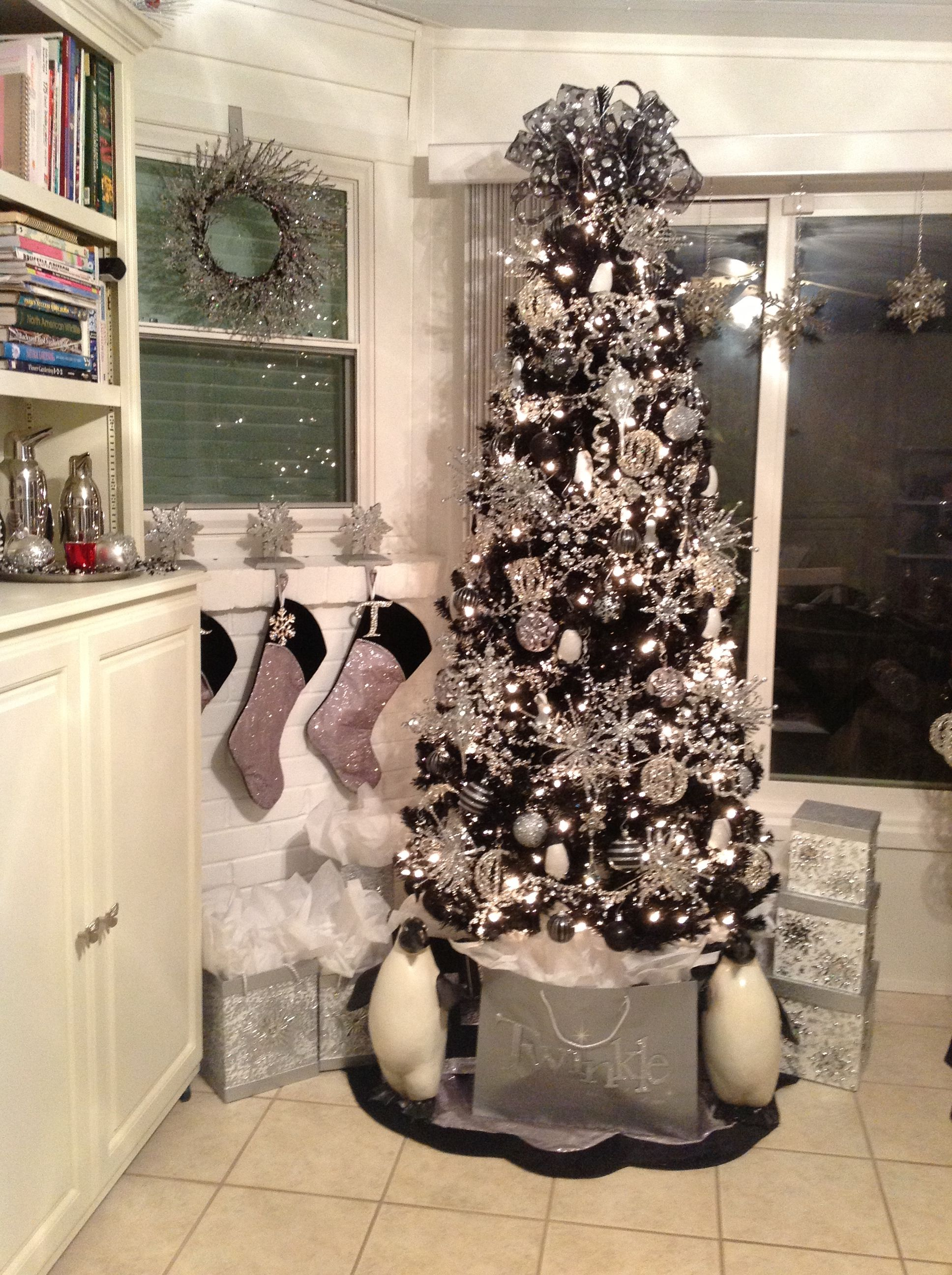Loving For This Year Black Christmas Tree White Silver Pink