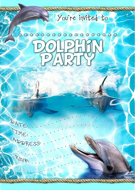 Dolphin Party Printable Invitation