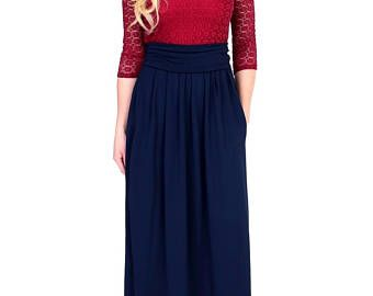 836c5d29c39 Maxi Evening Dress 3 4 Sleeves Round Neck Sash  Dark Burgundy Top Lace  Navy  Blue