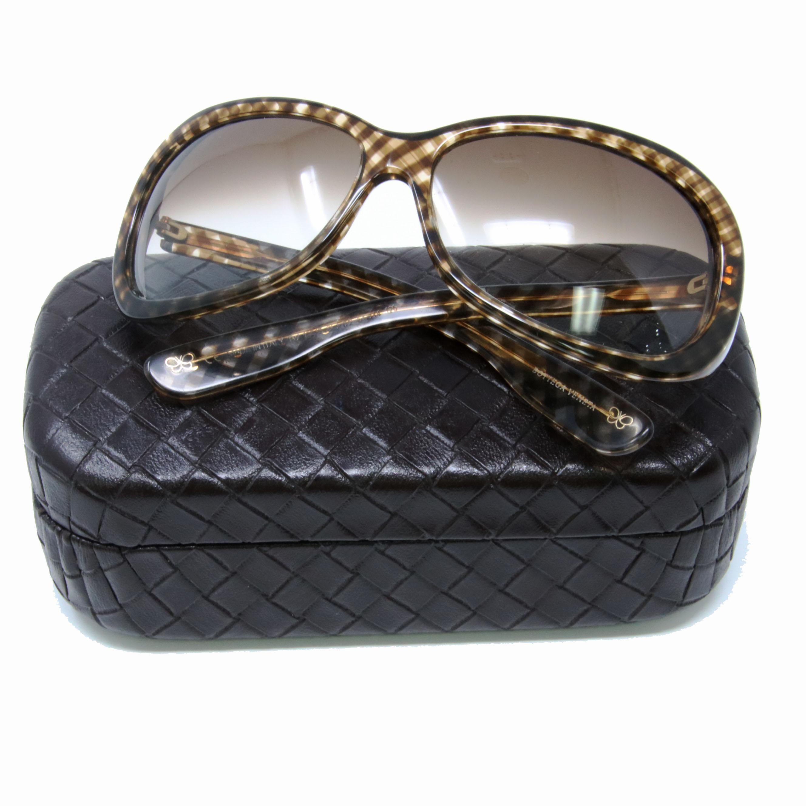 Bottega brown print 115s checkered oval