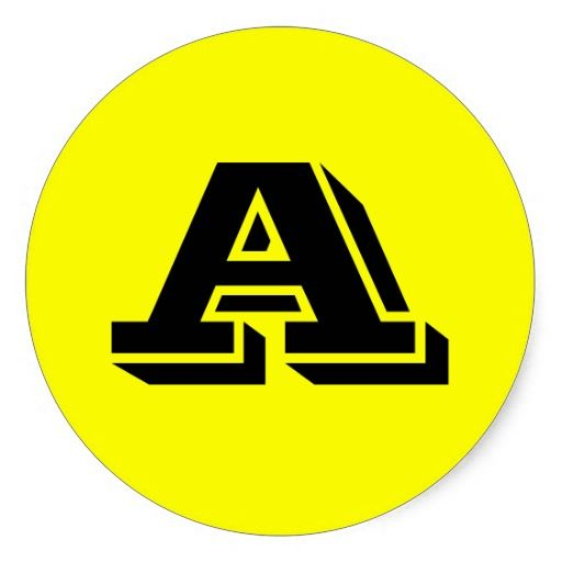 Capital letter a large round stickers by janz