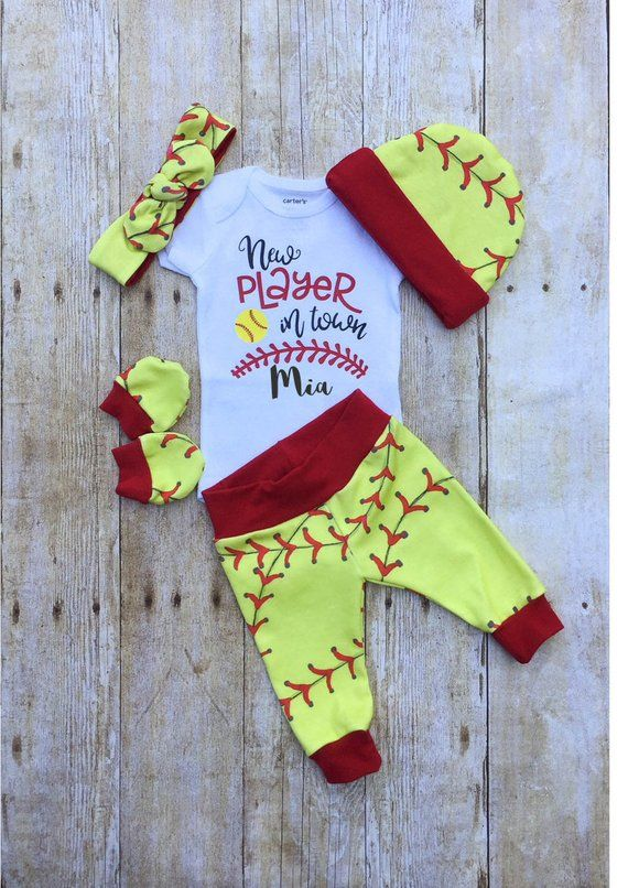 Photo of Softball-Mädchen nach Hause kommen Outfit, personalisierte Baby Girl Outfit, Take Home Newb ….