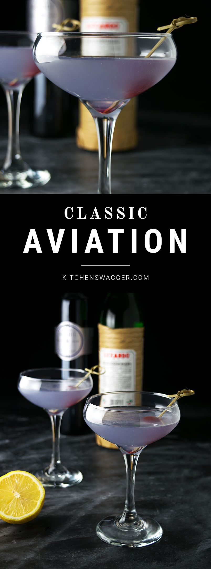 The classic Aviation cocktail is smooth, flowery, assertive, yet sweet.