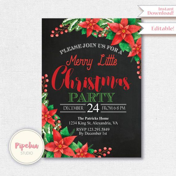 Christmas Invitation, Christmas Party Invitation, Editable Christmas