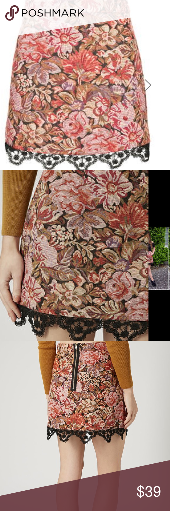 LAST CHANCE Tapestry a-line skirt Topshop Skirts Mini