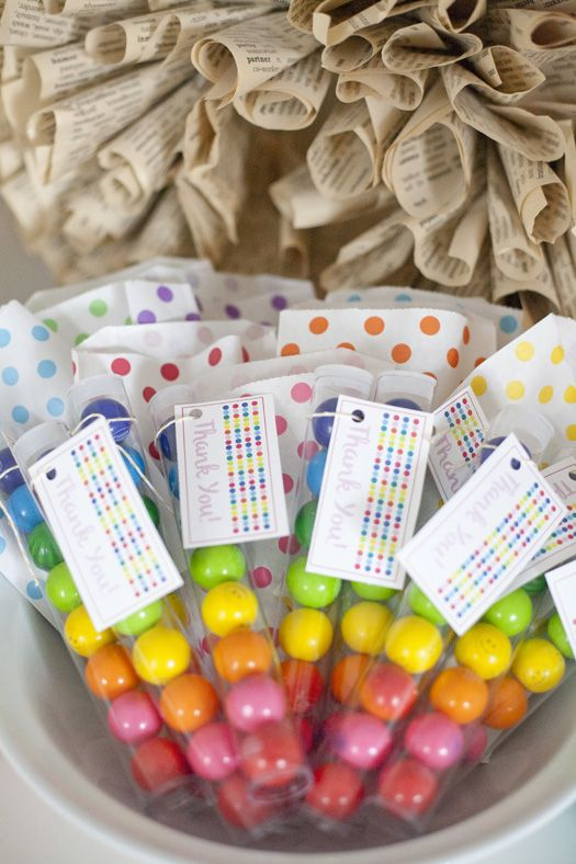 Gum Ball Party Favors In Our Long Clear Tubes