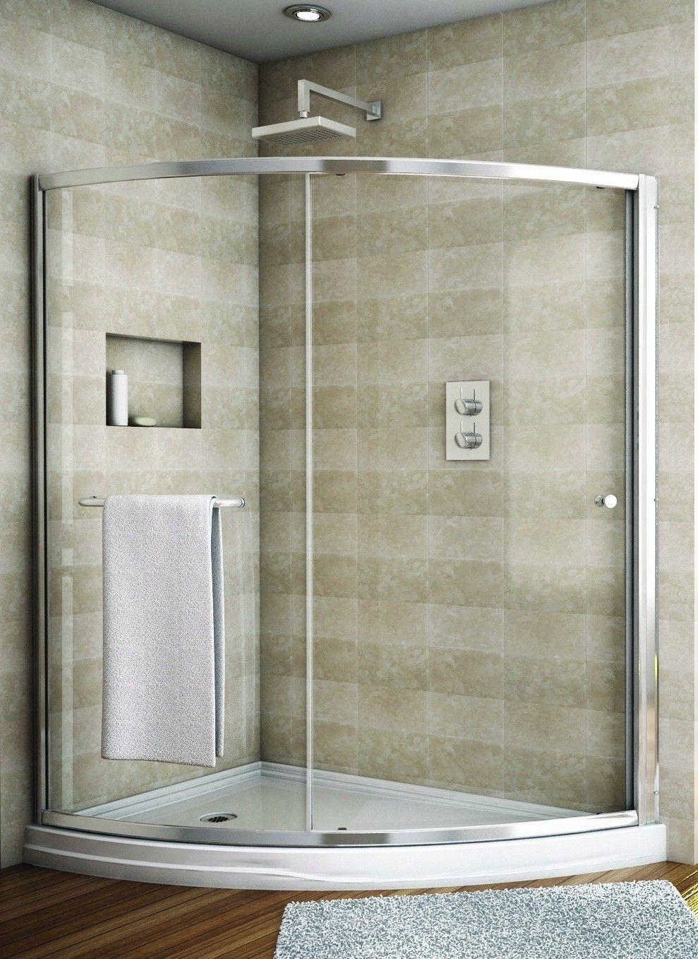 Fleurco Banyo Amalfi Slice Curved Sliding Frameless Shower Door ...