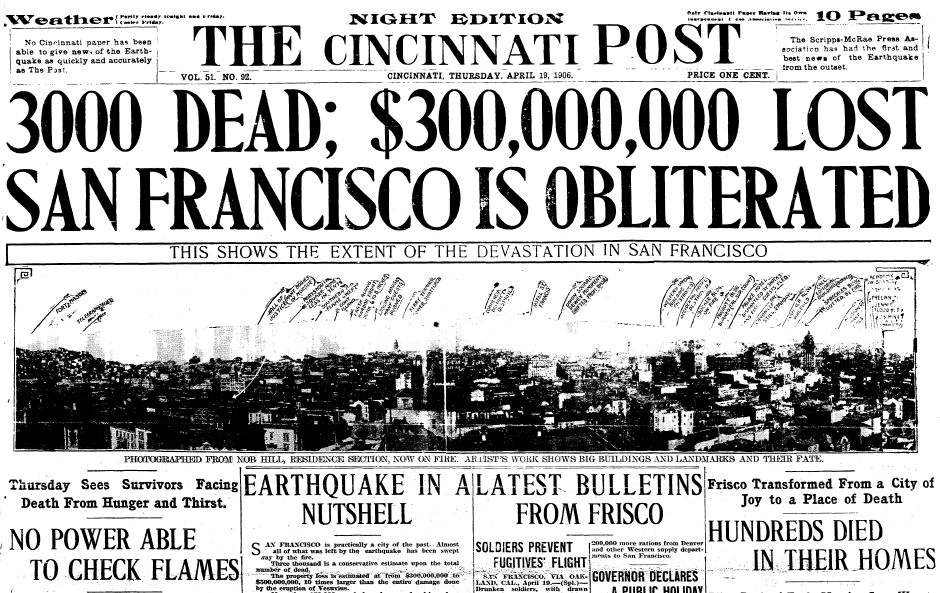 the city of san francisco leveled by the violent 1906 earthquake and consumed by fire