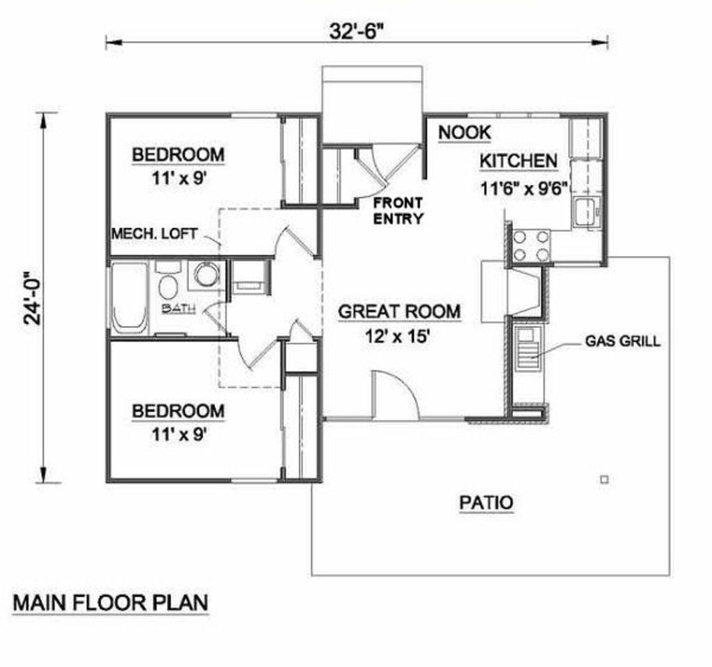 Cottage style house plan 2 beds 1 baths 700 sq ft plan for Small house plans under 700 sq ft