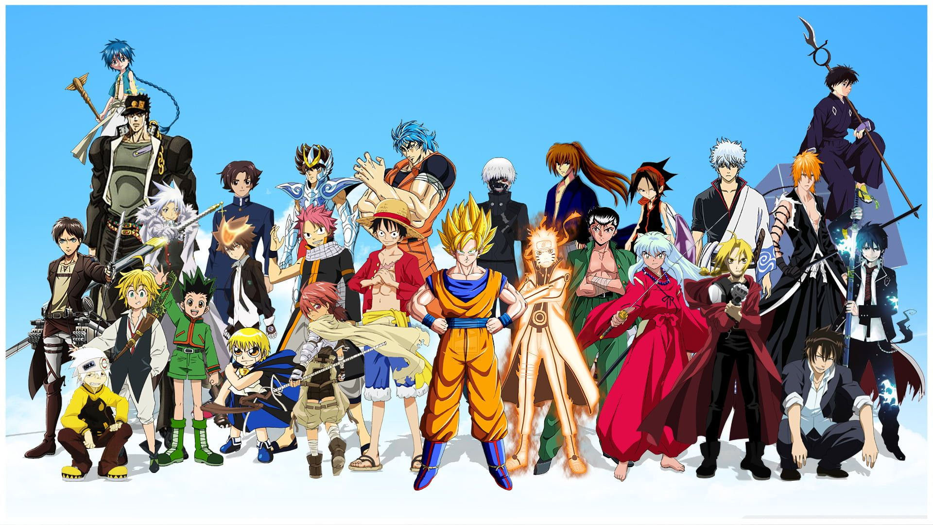 Shonen Jump Characters Anime Crossover Ao No Exorcist Attack On Titan Bleach Blue Exorcist Dragon Ball Anime Crossover All Anime Characters Anime Characters Anime crossover wallpaper 1920x1080