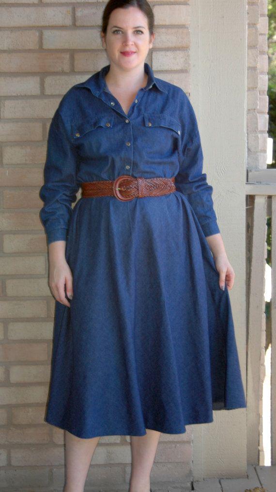 Vintage 80s Western Dress Jean Dress Size 14 Xl Denim Dress Plus