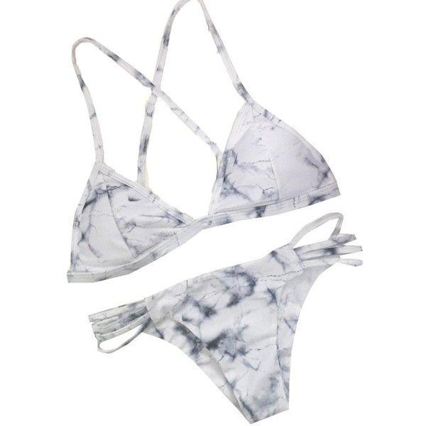 97f4d2adfa 2 Pcs Marble Print Cross Back Top Bottom Double Side Swim Wear Women ...