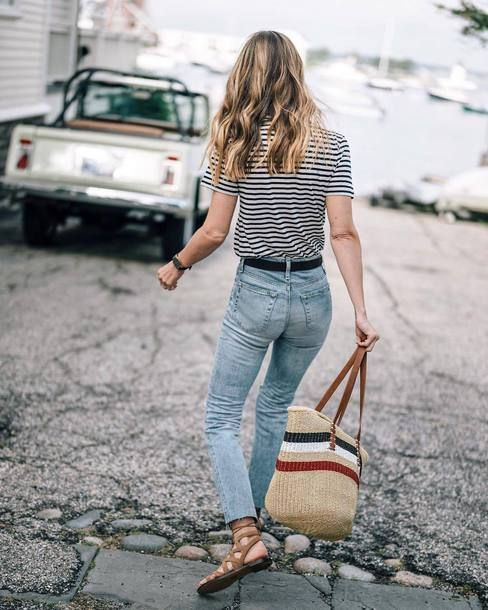 62450c1e7602 AG Kiara Stripe Tee Teamed With AG The Isabelle Straight Crop Jeans And Sam  Edelman Gemma Lace-Up Sandal Plus Multicolor Woven Bag Tumblr Outfit Ideas