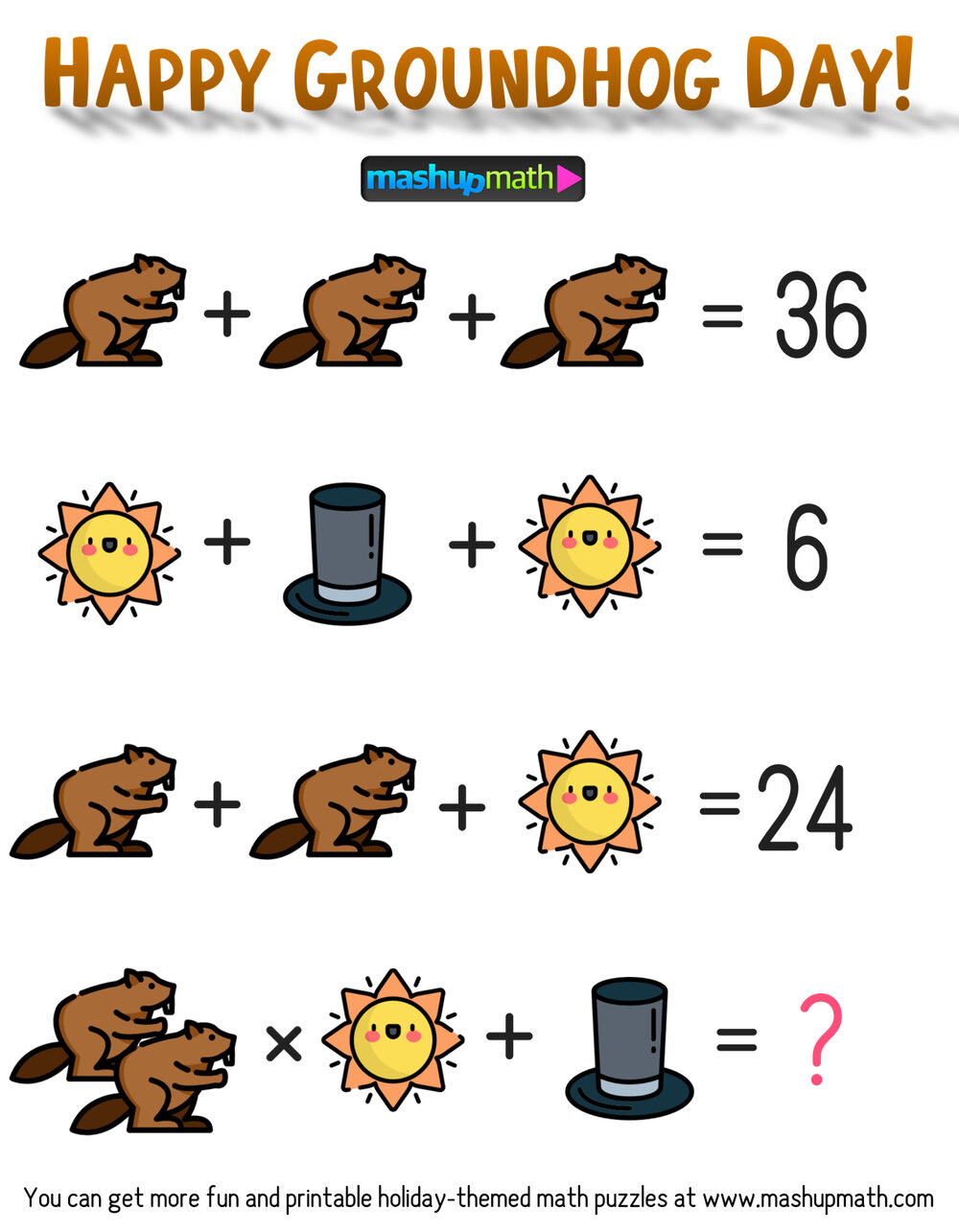 Free Groundhog Day Math Puzzle For Grades 3 8 Mashup Math In 2021 Maths Puzzles Math Logic Puzzles Free Math