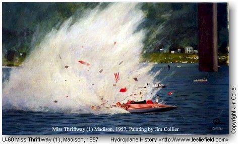 hydroplane boat accidents | painting depicting the Miss