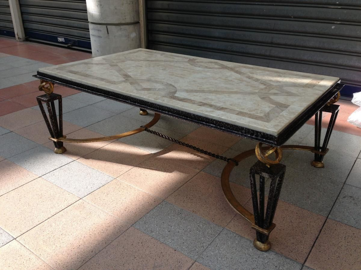 Art Deco Beautiful Wroughtiron Coffee Table Plateau In Marble Marquetry For Sale On Proantic By Galerie Table Basse Fer Table Basse Fer Forge Table Basse