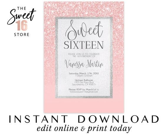 Sweet 16 Invitation | Pink Glitter Sweet Sixteen | 16th birthday party invitation | Glitter Instant #sweet16birthdayparty