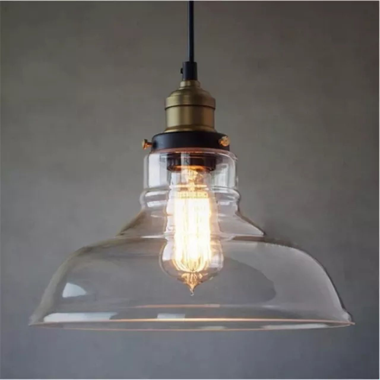 Modern Industrial Lighting Fixtures. Glass Pendant With Retro Cloth Wire   Clear Hanging Light Vintage