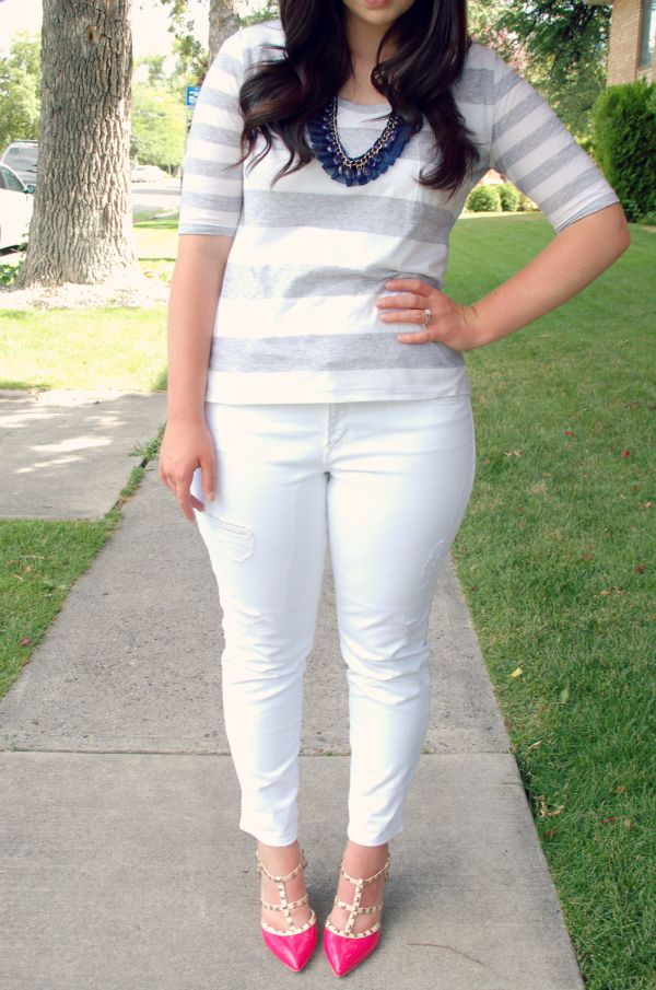 gray stripes, white pants, pink heels