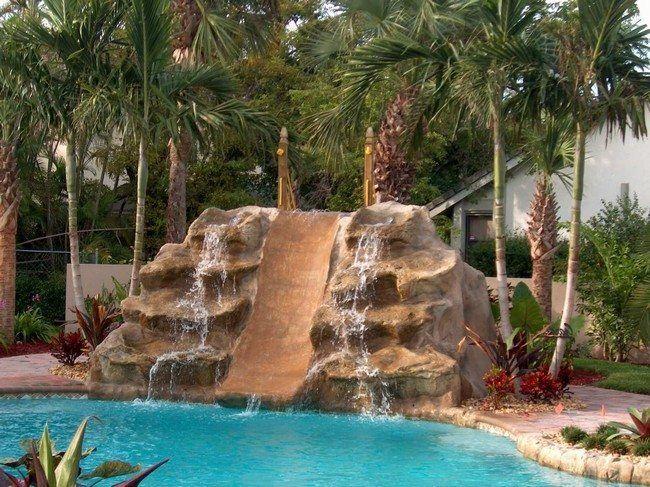 Pool Waterfalls Ideas trees providing shade around swimming pool area simple waterfall 40 Modern Pergola Designs And Outdoor Kitchen Ideas Designrulz Rock Waterfallfountainbackyardspools