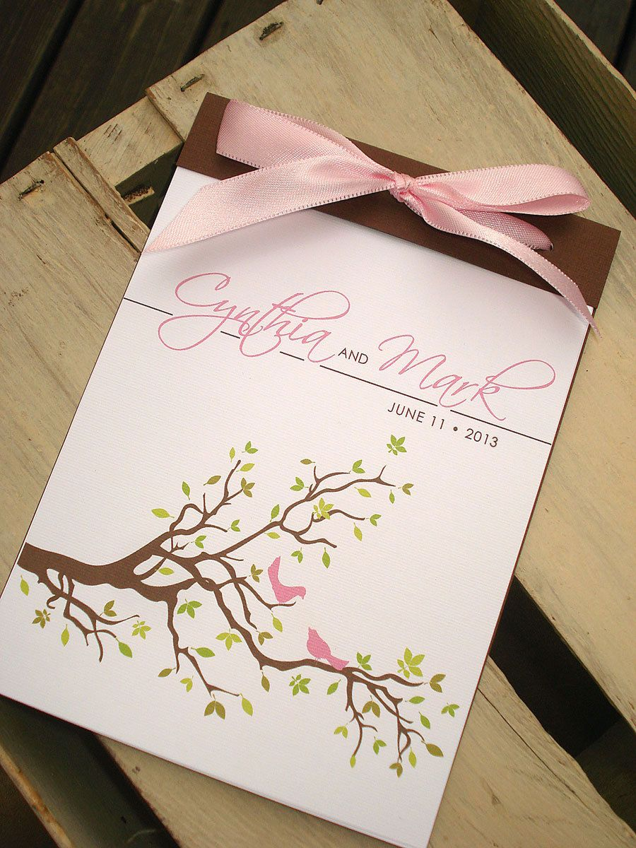 Spring Love Birds Tree And Leaves Coverlet Booklet Wedding Ceremony Program