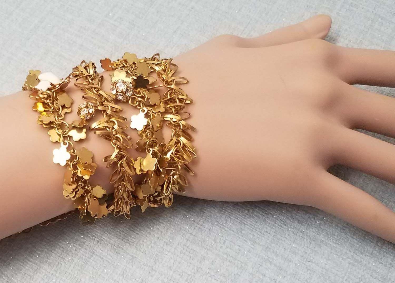 Vintage Christian Lacroix Bracelet With 4 Rows Of Small Gold Metal Charms Paris Bracelet Metal Charm Vintage Bracelets
