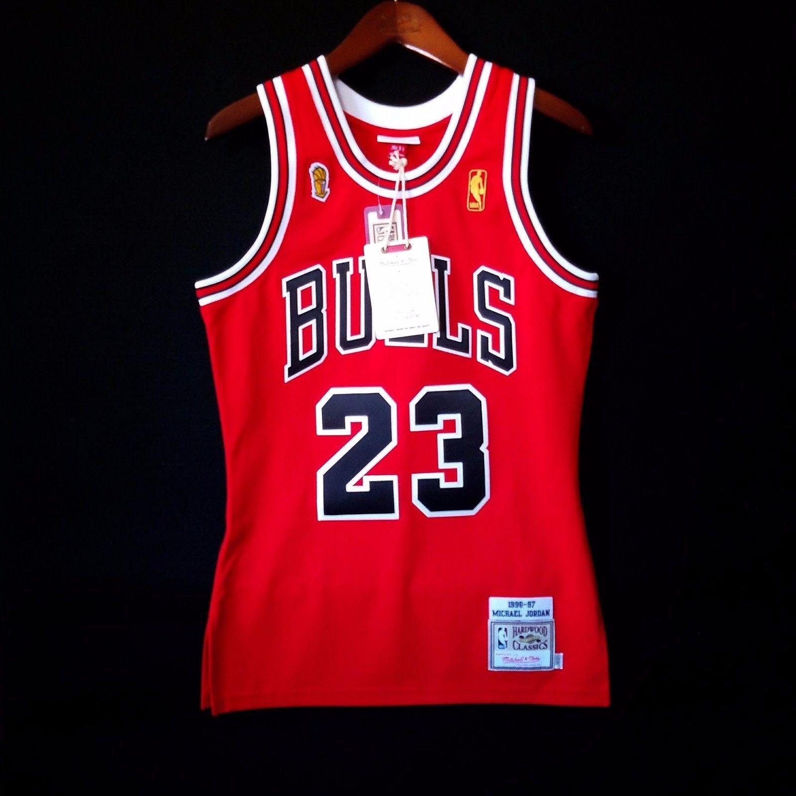 online retailer 96772 ec7a1 100% Authentic Michael Jordan Mitchell Ness 96 97 Finals ...