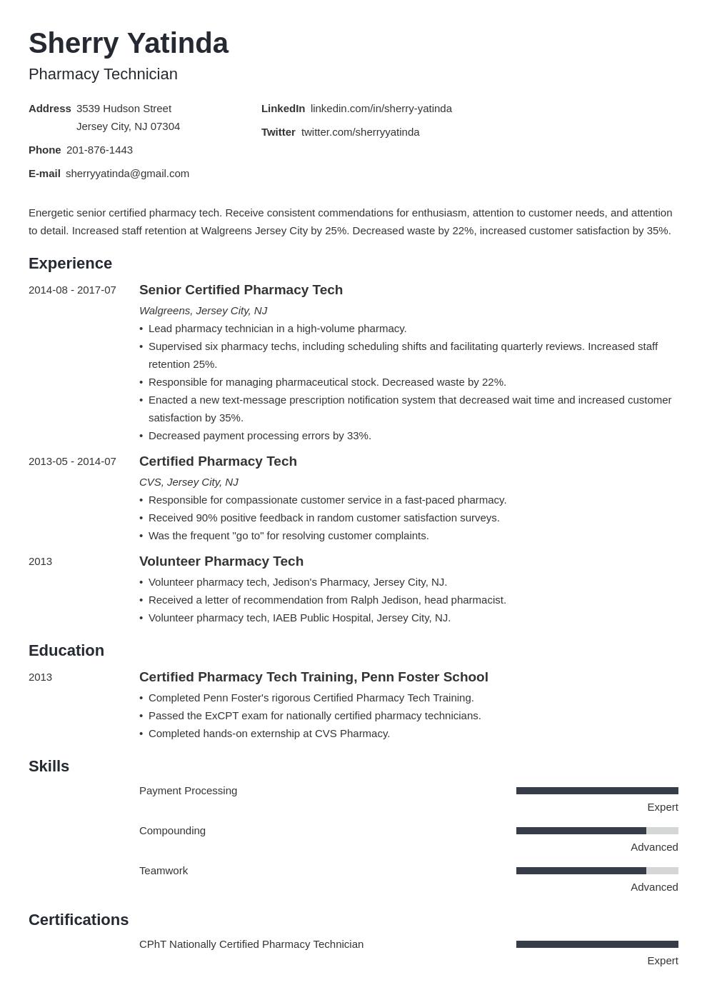 pharmacy technician resume sample  template  skills  tips