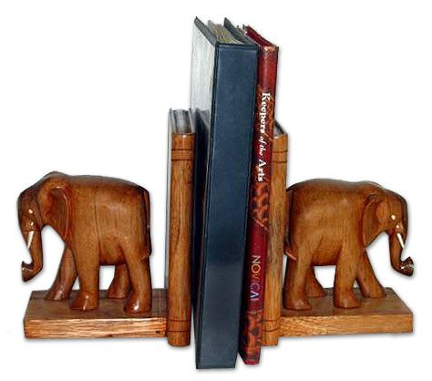 Hand Carved Wood Bookends - African Elephants   NOVICA