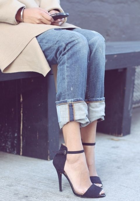 adorable cuffed jeans with heels and camel jacket.