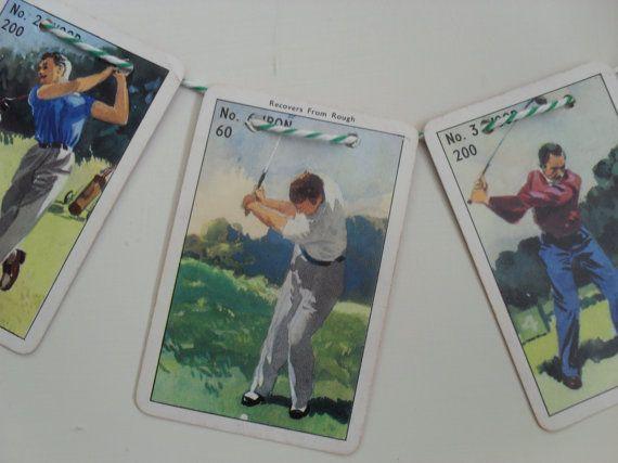 GOLF GARLAND Up Cycled Garland Vintage Game by BigGirlSmallWorld