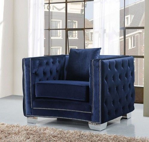 Reese Club Chair Navy   Meridian Furniture Inc