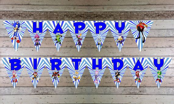 Sonic Printable Happy Birthday Banner Flags By Emporioelitedigital 4 00 Birthday Banner Sonic Birthday Happy Birthday Banners