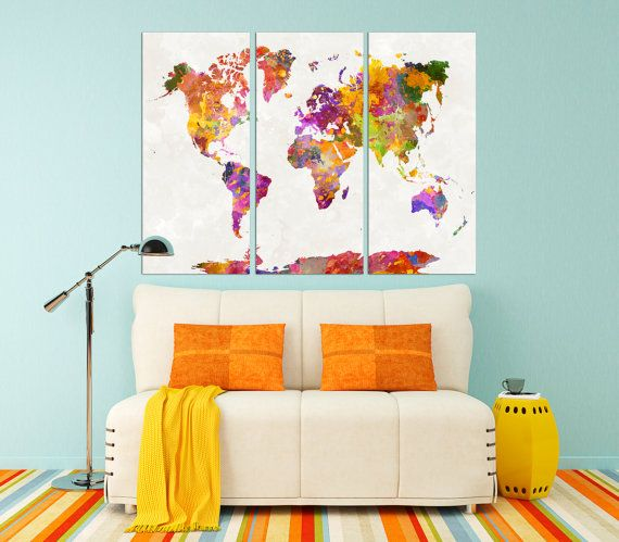 Large colorful world map canvas poster set extra large watercolor large colorful world map canvas poster set extra large watercolor world map print art gumiabroncs Gallery