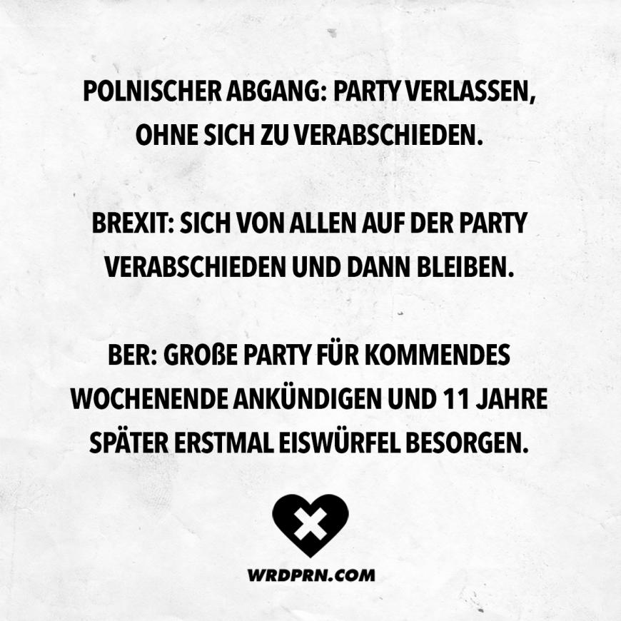 Visual Statements Polnischer Abgang Party Verlassen Ohne Sich Zu Verabschieden Brexit Sich Von Allen Auf Lustige Zitate Und Spruche Zitate Lustig Spruche