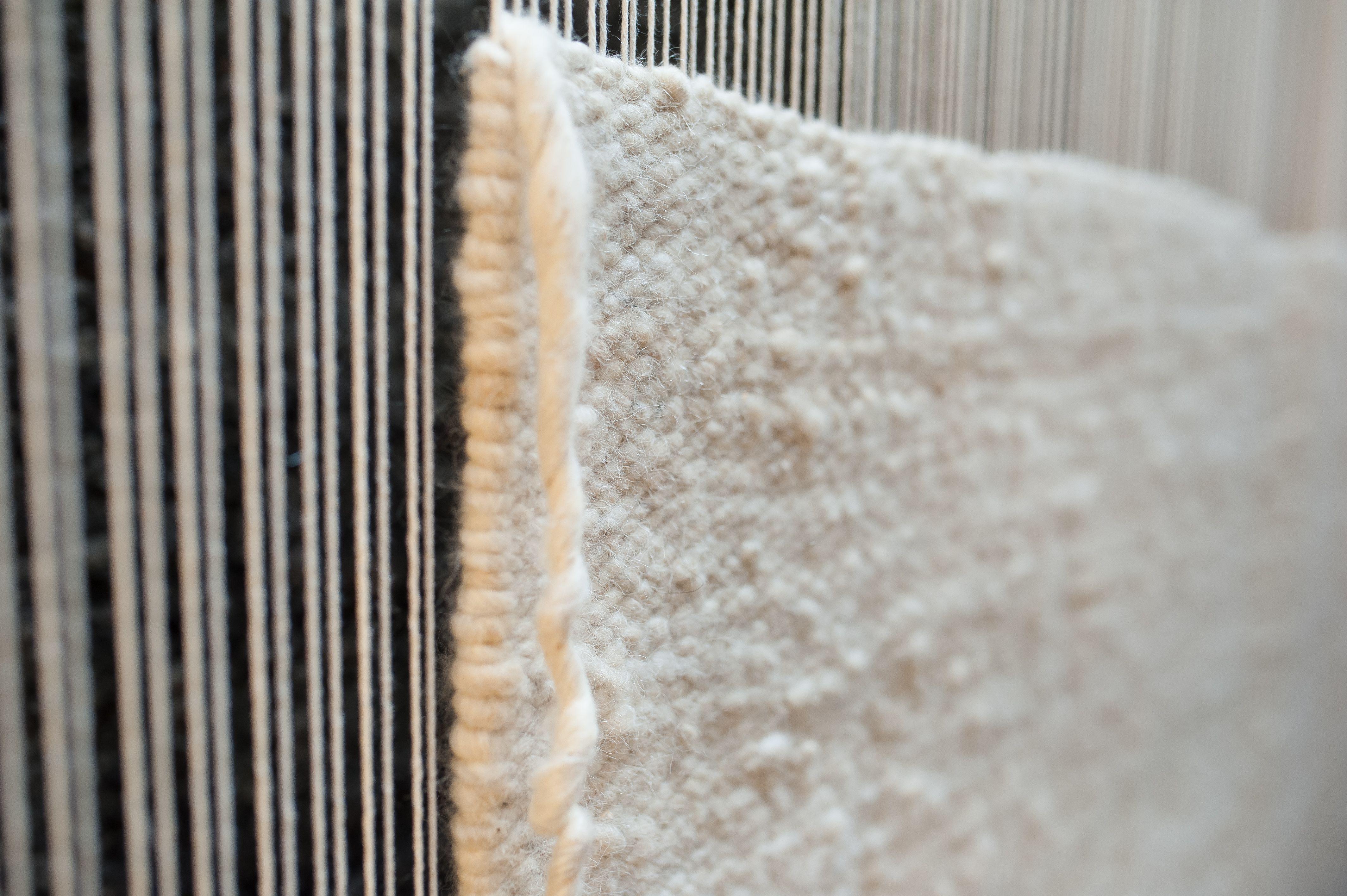 Loom Handwoven White Pure Wool Rugs