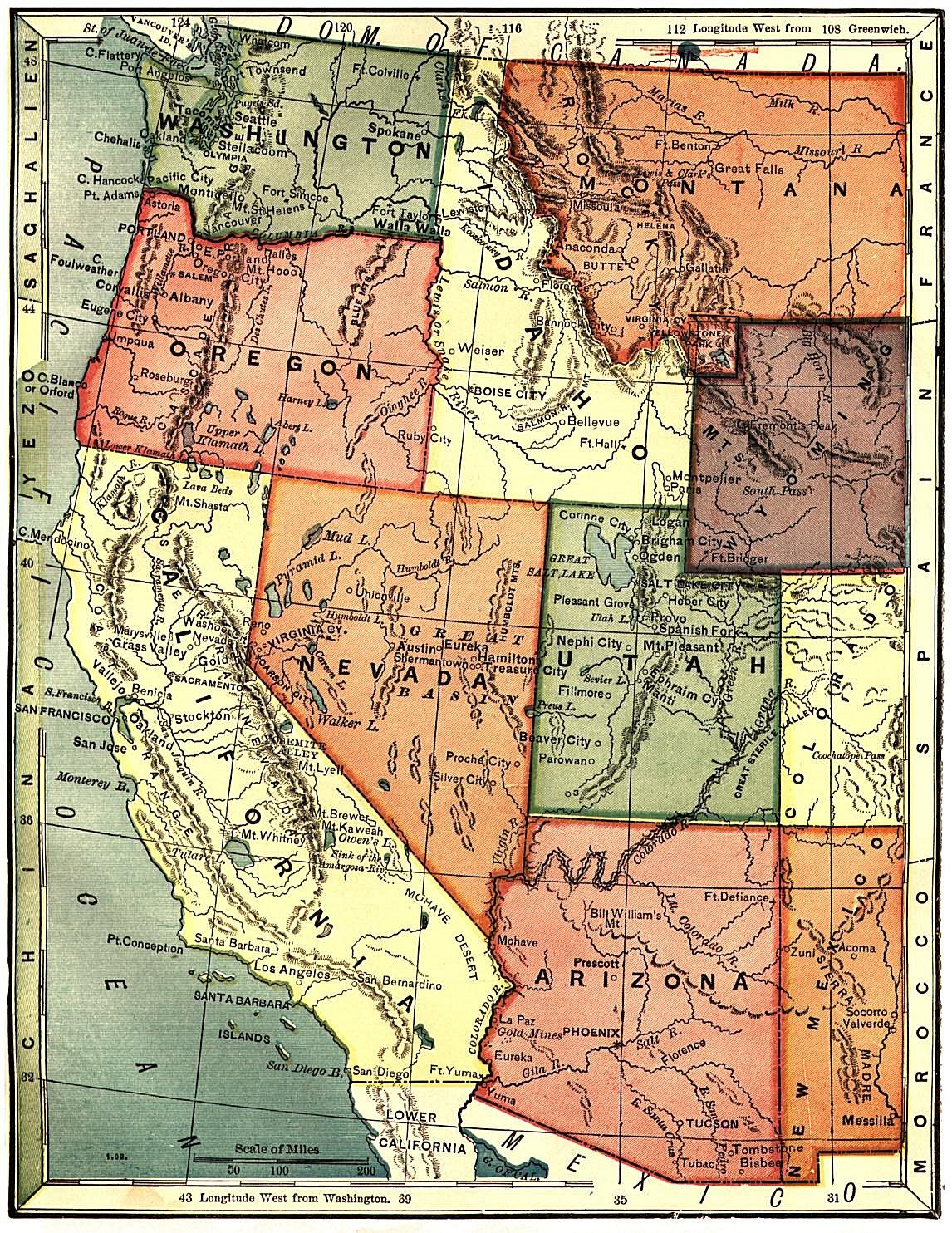 Nevada State Map highlighting the state Capital Counties Major