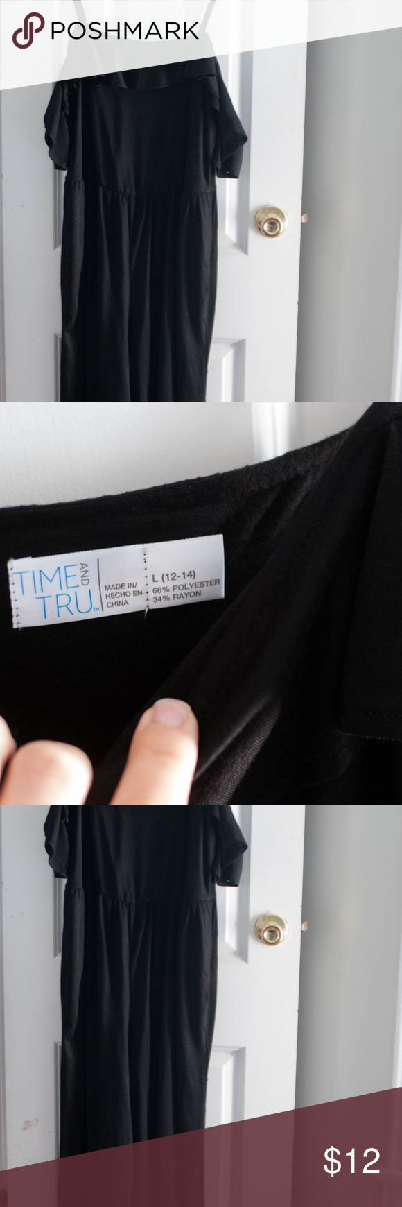 Time And Tru Black Gaucho Style Jumpsuit Sz L My Posh Closet
