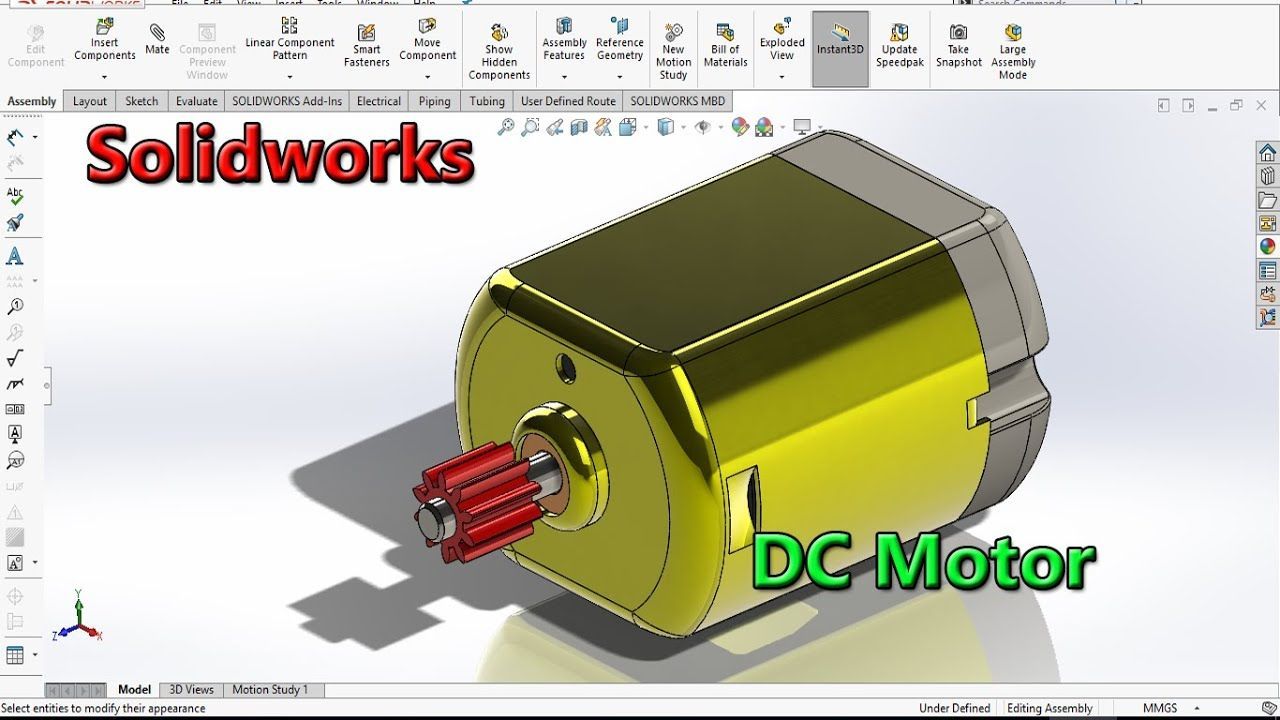 Solidworks Tutorial Dc Motor Solidworks Tutorial Solidworks Tutorial