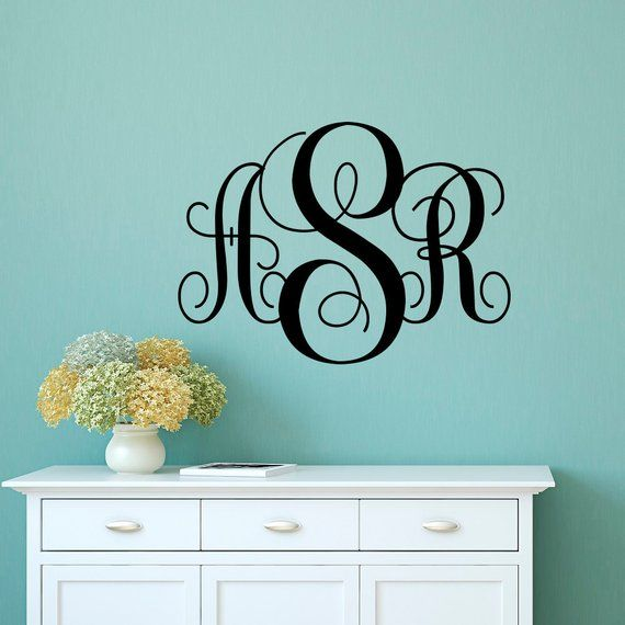 monogram decal- monogram sticker- personalized initial name wall