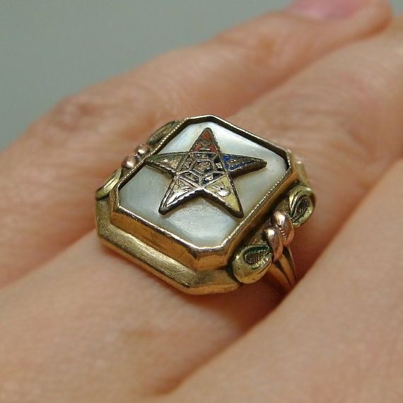 Vintage Masonic Ladies Eastern Star Tri Color 10k Gold Mop Ring Eastern Star Order Of The Eastern Star Tri Color
