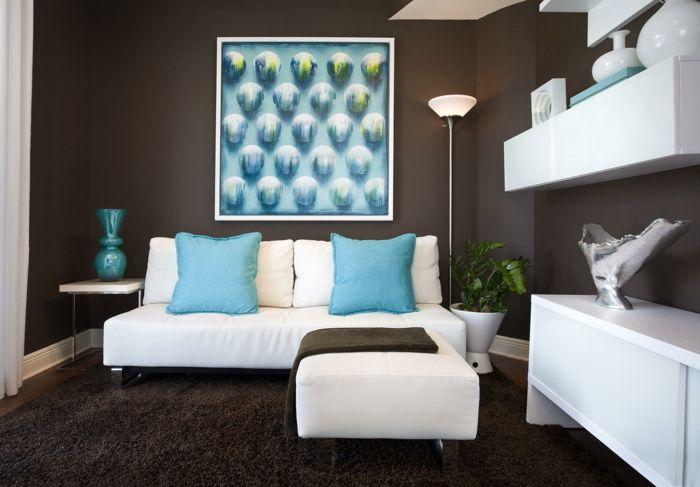Farbgestaltung Wohnzimmer Wandgestaltung Wanddesign Braun Blau