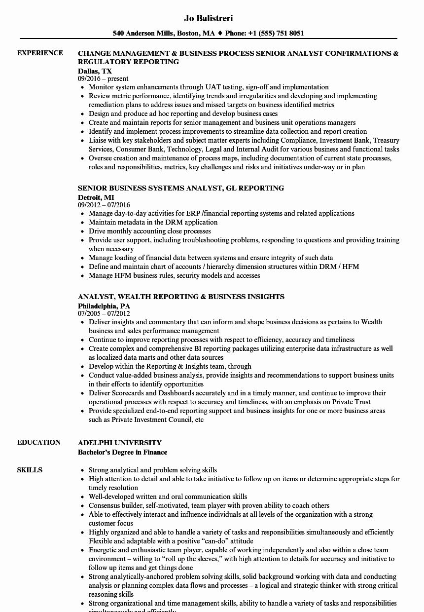 It Business Analyst Resume Best Of Business Analyst Reporting Analyst Resume Samples