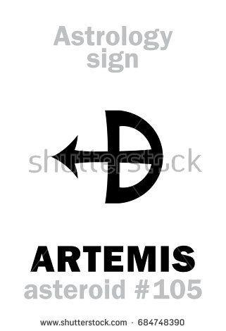 Astrology Alphabet: ARTEMIS, asteroid #105  Hieroglyphics