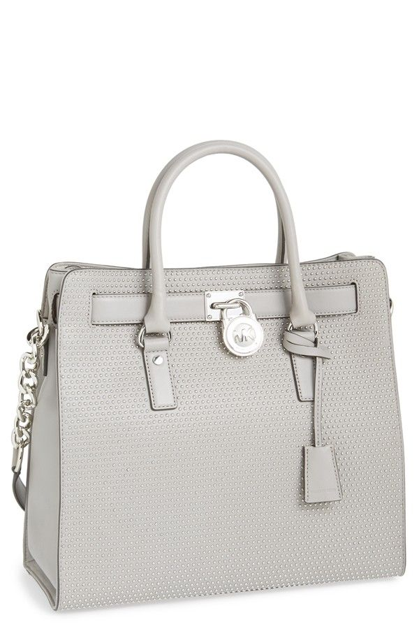 MICHAEL Michael Kors \u0027Large Hamilton - Microstud\u0027 Leather Tote Pearl Grey  One Size from Nordstrom on Catalog Spree