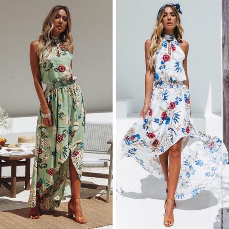 Women Holiday High Neck Floral Dress Long Floral Maxi Dress Boho Floral Maxi Dress Chiffon Dress Long