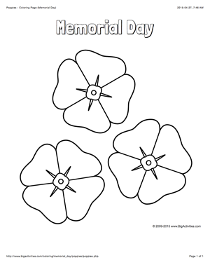 Memorial Day coloring page with a picture of poppies to